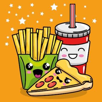 Pizza und pommes frites mit soda kawaii charakter