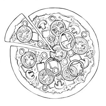 Pizza-vektorskizze. fast food