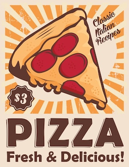 Pizza vintage beschilderung poster rustikal