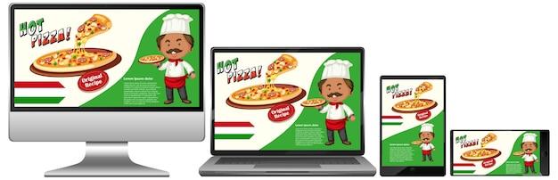 Pizza-werbung auf elektronischen geräten