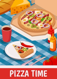 Pizza zeit isometrisch