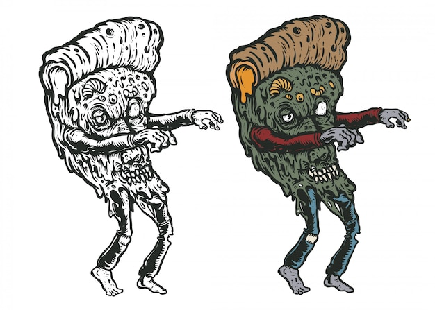 Pizza zombie kunst illustration