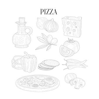 Pizza zutaten isoliert handgezeichnete realistische skizzen