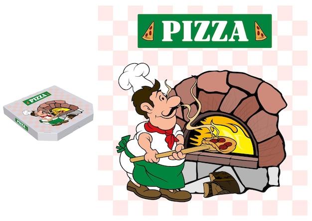 Pizzabäcker und backofen im grafikdesign auf einer pizzaschachtel aus papier