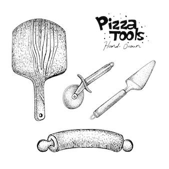 Pizzabäcker werkzeuge in der hand gezeichnet
