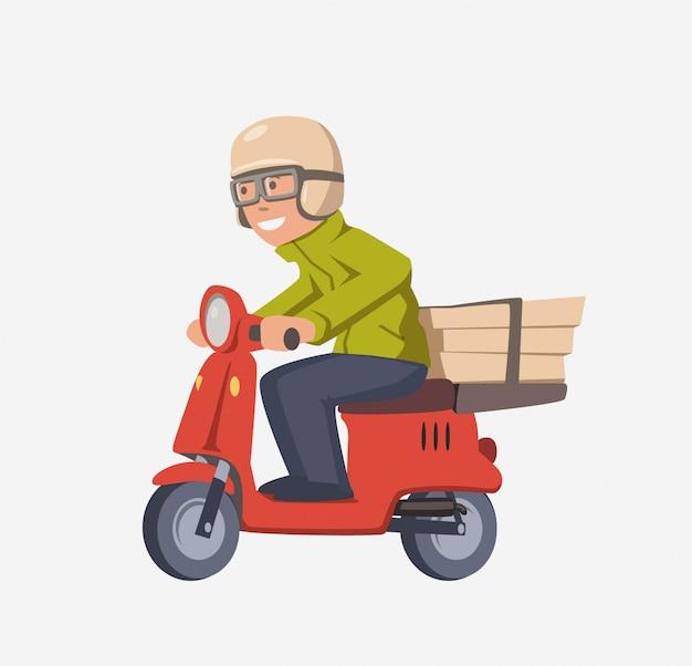 Pizzabote auf roller. lächelnder kurier mit kisten auf motorrad. isolierte zeichentrickfigur auf weiß