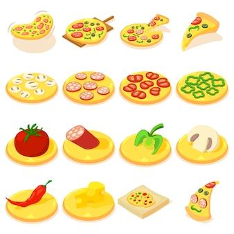 Pizzaikonen eingestellt. isometrische illustration von 16 pizzavektorikonen für netz