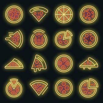 Pizzaikonen eingestellt. umrisse von pizzavektorsymbolen neonfarben auf schwarz