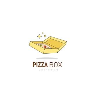 Pizzakarton. pizza-ikone mit kastenlogoschablone für schnellrestaurantlogo.