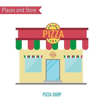Pizzaladen im flachen konzept des entwurfes
