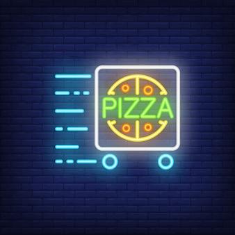 Pizzalieferungsleuchtreklame mit warenkorb in der bewegung. nacht helle werbung.