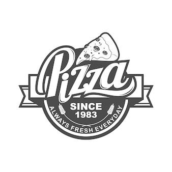 Pizzalogo-schablonendesign für pizzeria