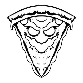Pizzamonster-charakter-vektorillustration