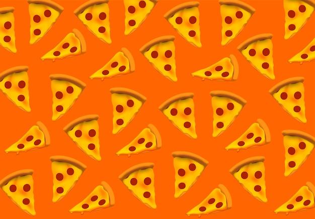 Pizzamuster pizzascheibe nahtloses muster vektorillustrationsfahnenpostkarte