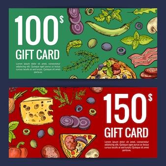 Pizzarestaurant oder shop geschenkkarten oder rabattvorlagen