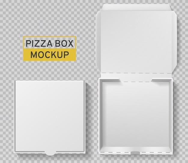 Pizzaschachtel. offene und geschlossene pizzapackung, weißes kartonmodell von oben, papierlieferung, realistische vorlage für das fast-food-mittagessen