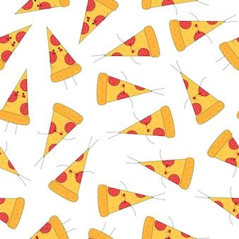 Pizzascheibenmuster mit gesichtern im handgezeichneten stil