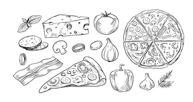 Pizzaset, skizzenstil, gekritzel. handgezeichnete vektor-illustration. ideal für menü, poster oder etikett.
