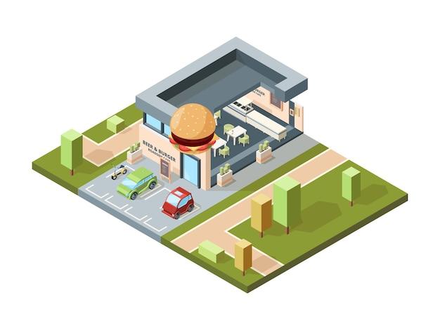 Pizzeria außen. isometrische karte der modernen städtischen fast-food-restaurantstadt mit dem infrastrukturvektor der gebäudefassaden. cafe exterieur, restaurant und pizzeria illustration