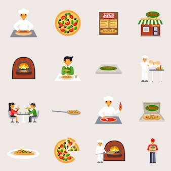 Pizzeria icons set