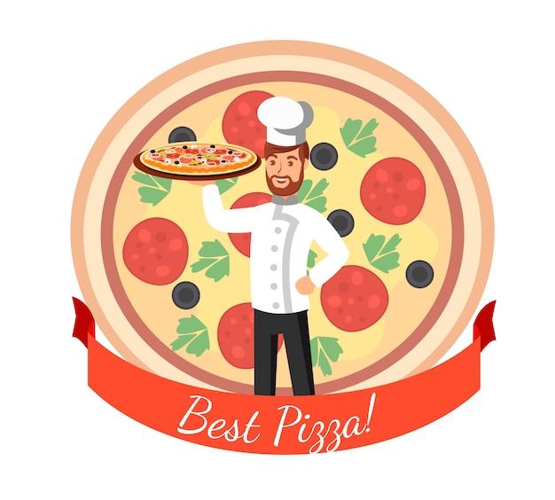 Pizzeria logo flat vector cartoon illustration