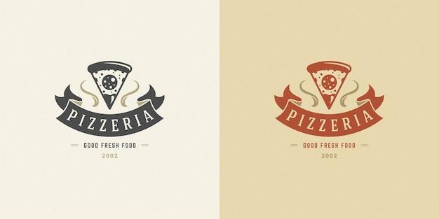 Pizzeria logo illustration pizza slice silhouette set Premium Vektoren