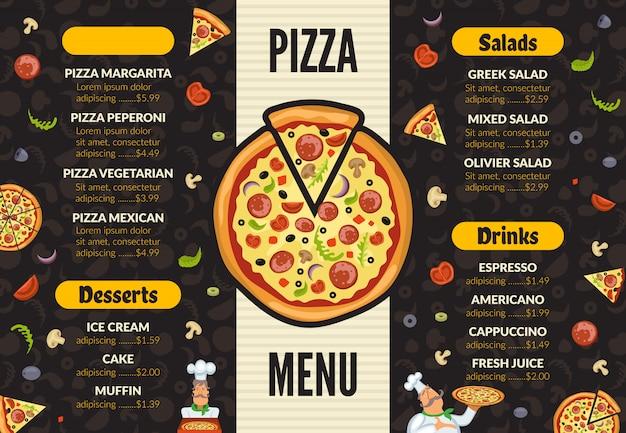 Pizzeria menüvorlage. italienische küchenküchenlebensmittel-pizzabestandteile, die das mittagessen und nachtischhintergrund kochen