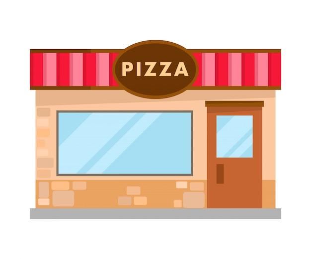 Pizzeria modern bricks building flat illustration