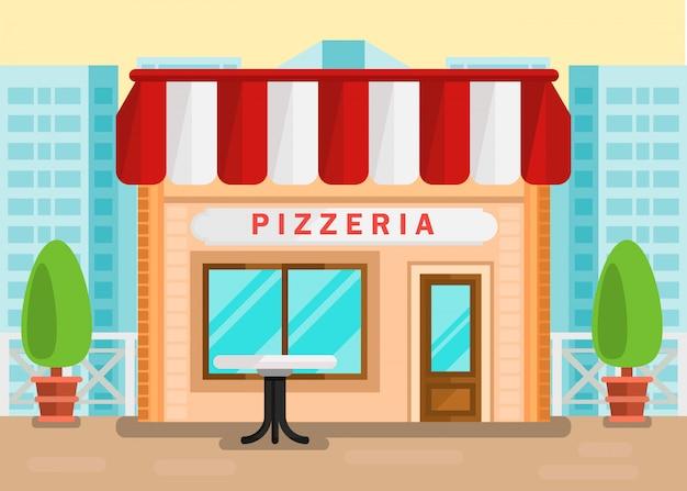 Pizzeria-sitzplatz-karikatur-illustration im freien