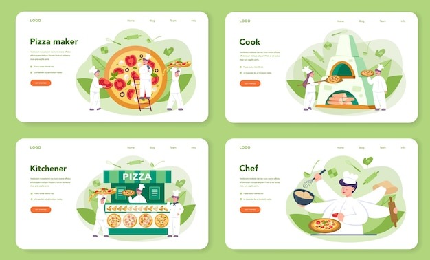 Pizzeria web banner oder landing page set