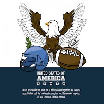 Plakat amerikanischen fußballs usa mit informationsvektorillustrations-grafikdesign