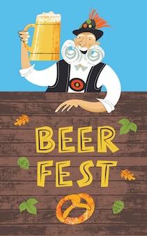 Plakat bierfest oktoberfest. ein älterer mann mit großem schnurrbart in einem tiroler hut mit einem großen bierkrug. handgezeichnete vektor-illustration.