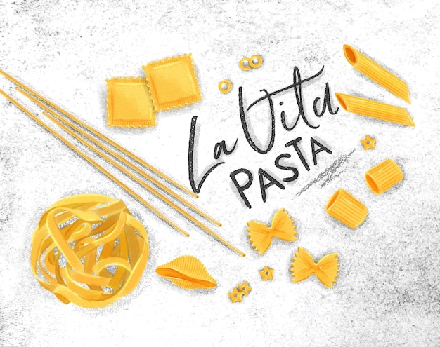 Plakat, das la vita-nudeln mit vielen arten von makkaroni-zeichnungen auf schmutzigem papierhintergrund beschriftet.