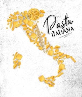 Plakat, das pasta italiana mit makkaroni-kartenzeichnung auf schmutzigem papierhintergrund beschriftet.