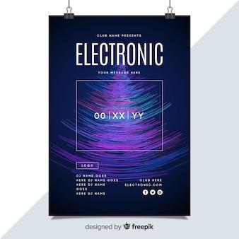 Plakat der elektronischen musik des schablonenstörschubeffektes