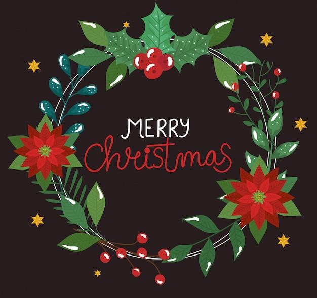 Plakat der frohen weihnachten mit blumen und blättern