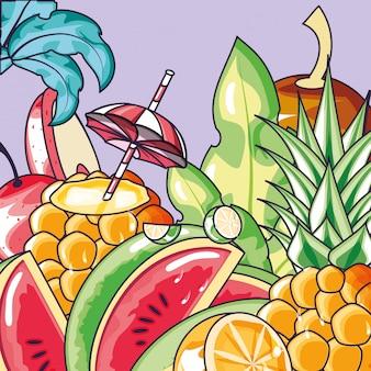 Plakat der früchte tropisch und des cocktails