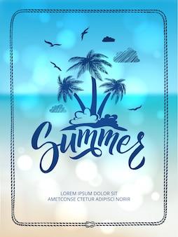 Plakat der glücklichen sommerzeit. postkartendekoration mit hand gezeichneten buchstaben und wörtern.