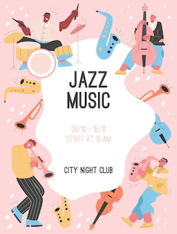 Plakat der jazzmusik im city night club-konzept