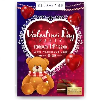 Plakat der party zum valentinstag mit teddybär