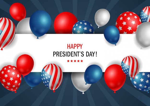 Plakat der präsidenten day mit glänzenden ballonen mit horizontalem rahmen.