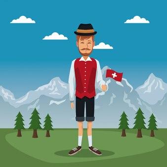 Plakat der schweiz mit mann im traditionellen kostüm mit kleiner flagge