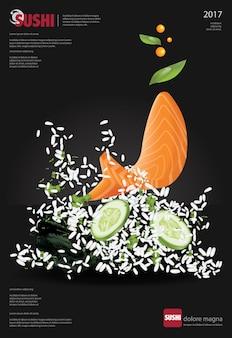 Plakat der sushi-restaurant-reis-spritzen-vektorillustration