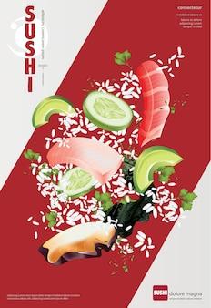 Plakat der sushi-restaurant-vektorillustration