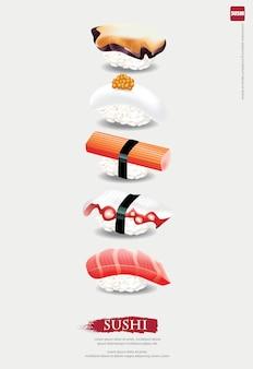 Plakat der sushi-restaurantillustration
