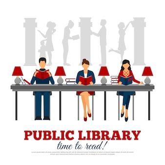 Plakat der szene in der bibliothek