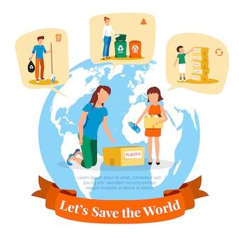 Plakat der umweltbehörde mit informationen zur sammlung und sortierung von abfällen für das recycling