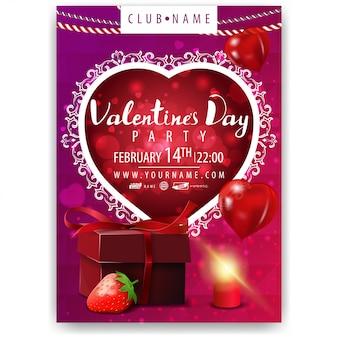 Plakat der valentinstagparty mit geschenk und erdbeere