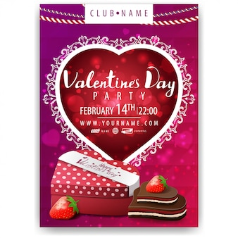 Plakat der valentinstagparty mit geschenk und süßigkeit in form des herzens