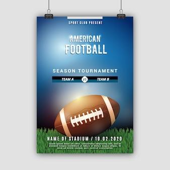 Plakat des amerikanischen fußballs mit ball auf dem feld